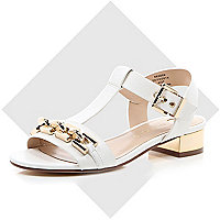 White leather-look chain front sandals