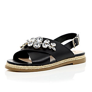 Black leather gem slingback sandals