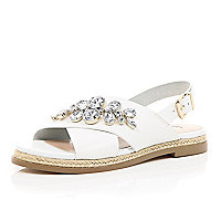 White leather gem slingback sandles