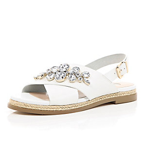 White leather gem slingback sandals