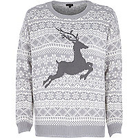 Grey reindeer knitted Christmas jumper