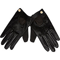 Black leather pony skin driving gloves