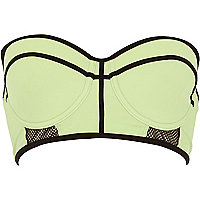 Lime mesh bustier bikini top