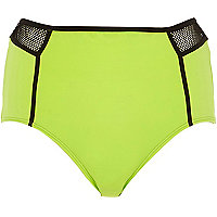 Lime mesh high waisted bikini bottoms