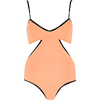 Orange black strap cami swimsuit