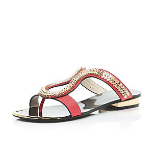 Red chain loop sandals