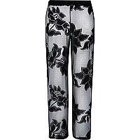 Black lace palazzo trousers