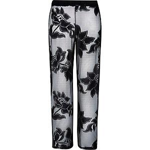 Black floral lace palazzo pants