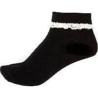 Black frill trim turn over ankle socks