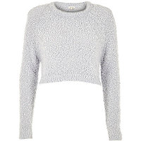 Light grey fluffy crop jumper