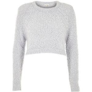 Light grey fluffy crop sweater