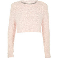 Pink pink fluffy crop jumper
