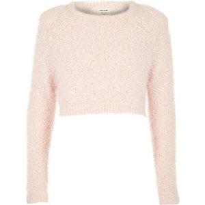 Pink pink fluffy crop jumper