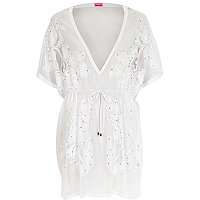 White lace cover up kaftan