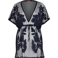 Navy lace cover up kaftan