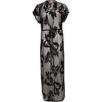 Black floral mesh maxi kaftan