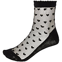 Black heart print mesh ankle socks