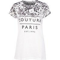 Grey j'adore couture Paris print fitted tee