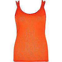 Orange split strap ribbed vest