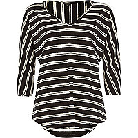 Black linen V neck stripe top