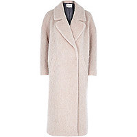 Light pink woollen maxi coat