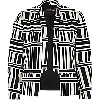 Black graphic stripe sateen cropped jacket