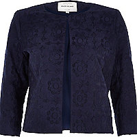 Navy floral organza cropped jacket