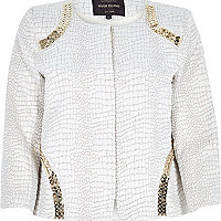 Cream mock croc print embellished crop jacket