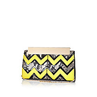 Lime zig zag frame top clutch bag