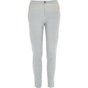 Navy stripe zip pocket skinny trousers