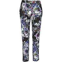 Purple floral print cigarette trousers