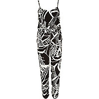 Black graphic print jumpsuit