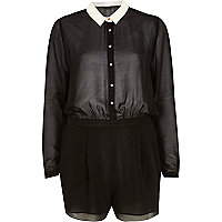 Black sheer blouse playsuit