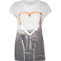 Grey foiled heart NYC city print t-shirt