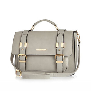 Grey large satchel handbag
