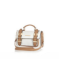 White camel mini satchel bag