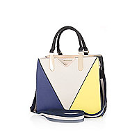 Blue and yellow colour block tote bag