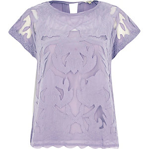 Purple short sleeve lace t-shirt