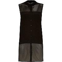 Black long line mesh shirt