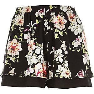 Black floral print shorts