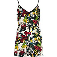 Green botanical floral print cami playsuit