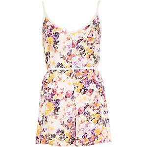 White blossom print cami playsuit
