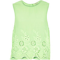 Bright green crepe embroidered hem tank top
