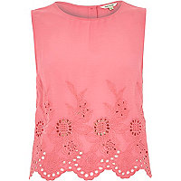Pink crepe embroidered hem tank top