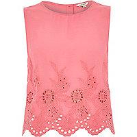 Pink crepe embroidered hem tank top