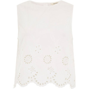 White crepe embroidered hem tank top