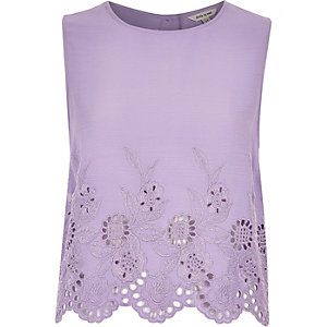 Purple crepe embroidered hem tank top