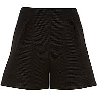 Black mesh high waisted shorts