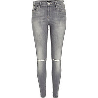 Grey Amelie ripped knee superskinny jeans