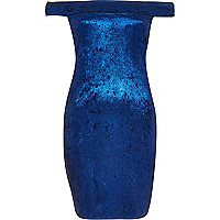 Blue Chelsea Girl velvet bardot dress